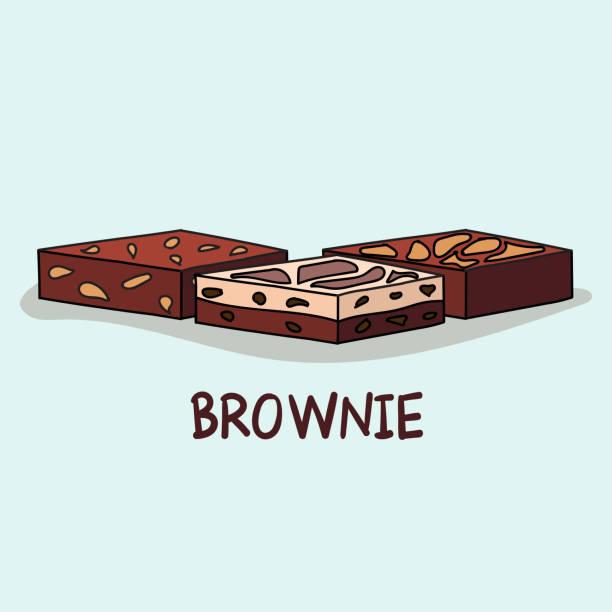 bildbanksillustrationer, clip art samt tecknat material och ikoner med söt uppsättning söta brownie, vektor tecknad stil. - brownie