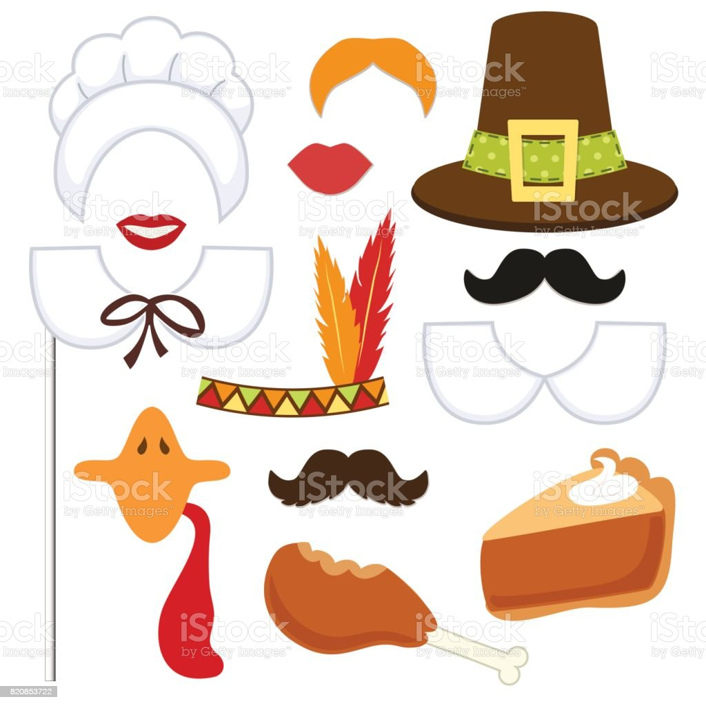Cute set of Thanksgiving photo booth props vector art illustration