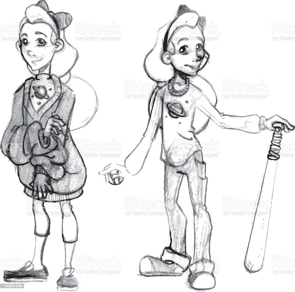 Cute set of tomboy girls