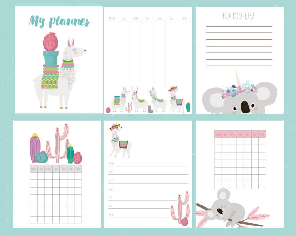 cute set of weekly planner and schedule with alpaca and koala bear - wildlife calendar stock illustrations, clip art, cartoons, & icons