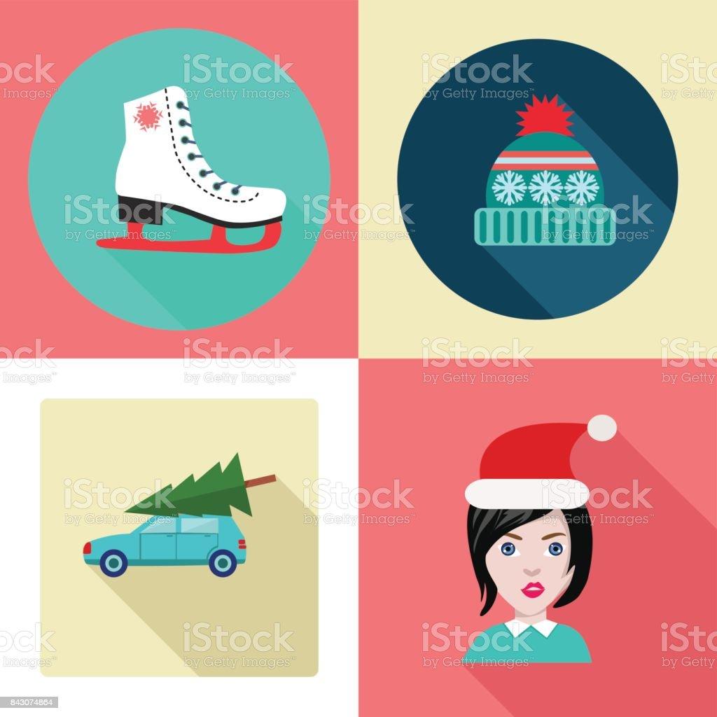 Cute Set of Winter Theme Design Elements vector art illustration