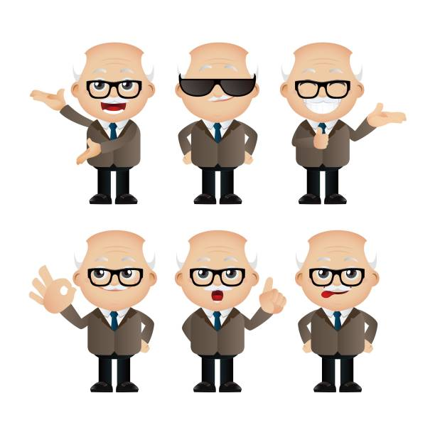 cute set - set of businesspeople character - old man glasses stock illustrations, clip art, cartoons, & icons