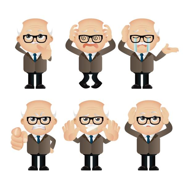 cute set - set of businesspeople character - old man crying stock illustrations, clip art, cartoons, & icons