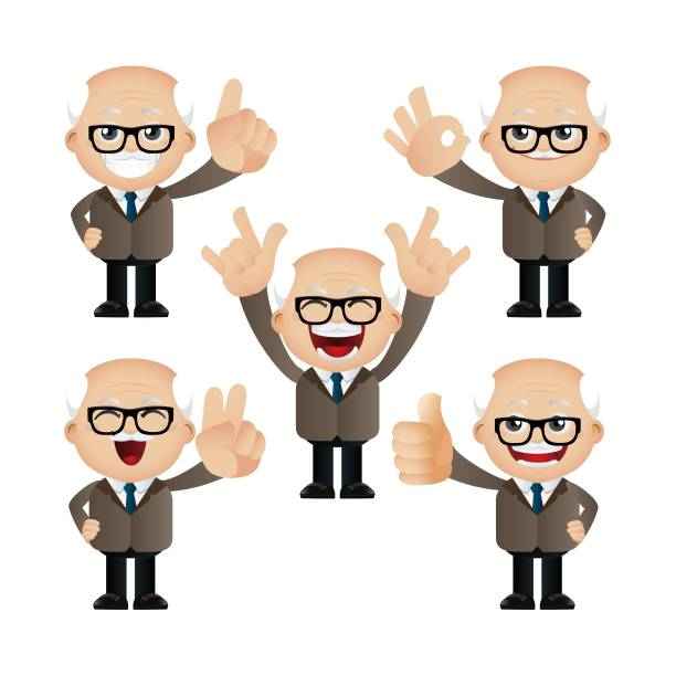 cute set - set of businesspeople character - old man showing thumbs up cartoons stock illustrations, clip art, cartoons, & icons