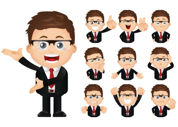 Cute Set - Set of businesspeople Cute Set - Set of businesspeople hailing a ride stock illustrations