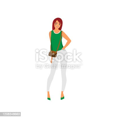 istock Cute sexy young woman in white pants and green vest 1208348663