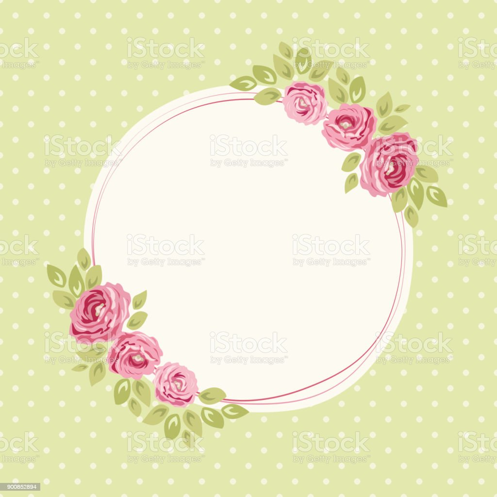 Cute Shabby Chic Frame With Roses On Seamless Polka Dots Background ...