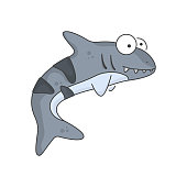 istock Cute shark baby icon. An image of a kind and smiling predator with large bulging eyes. Isolated vector illustration on a clean white background. 1300010114