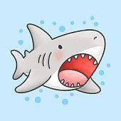 Cute shark hand drawn cartoon animal character. Hand drawing vector. Cartoon character design