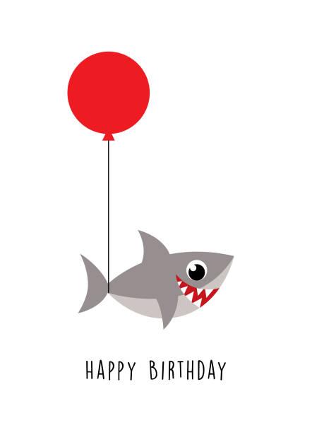 niedliche Hai alles Gute zum Geburtstag Grußkarte – Vektorgrafik