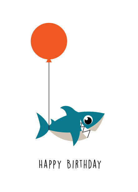 alles Gute zum Geburtstag Grußkarte Vektor niedlich Hai – Vektorgrafik