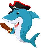 illustration of Cute shark pirate cartoon