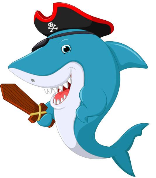 cute shark pirate cartoon - haifischköder stock-grafiken, -clipart, -cartoons und -symbole