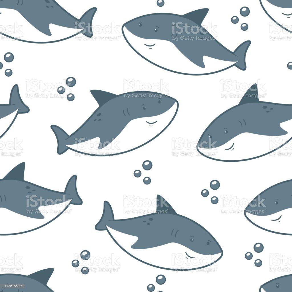 壁紙ラッピングパッキングおよび背景のための白い背景にかわいいサメ
