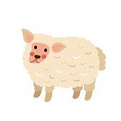 Cute Sheep animal cartoon character vector illustration.