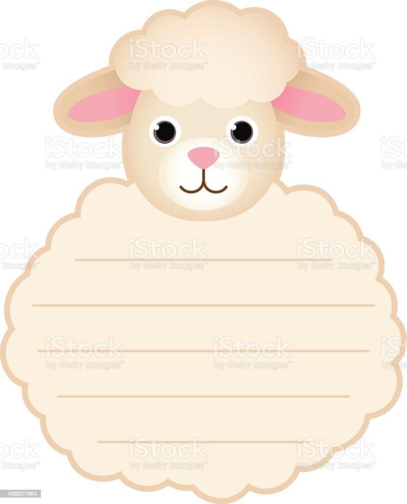 Jolie carte tag label mouton - Illustration vectorielle