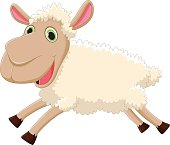 cute sheep cartoon jumping