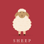 Vector drawing. Cute sheep design in cartoon style. Eps10.