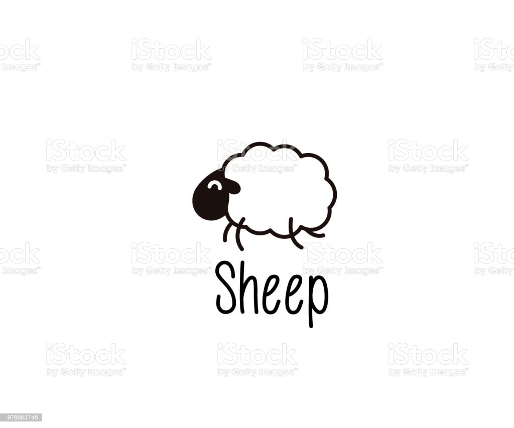 Cute Sheep doodle. Vector illustration of a happy jumping lamb for night sleep or farm subjects vector eps10 Animal stock vector