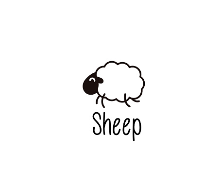 Cute Sheep Doodle Vector Illustration Of A Happy Jumping Lamb For Night Sleep Or Farm Subjects Stock Illustration - Download Image Now
