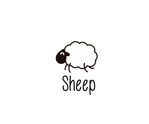 Cute Sheep doodle. Vector illustration of a happy jumping lamb for night sleep or farm subjects vector eps10 counting stock illustrations