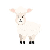 Cute sheep farm animal icon isolated on white background. Cartoon sweet happy lamb character. Vector flat design illustration of fluffy smiling sheep.