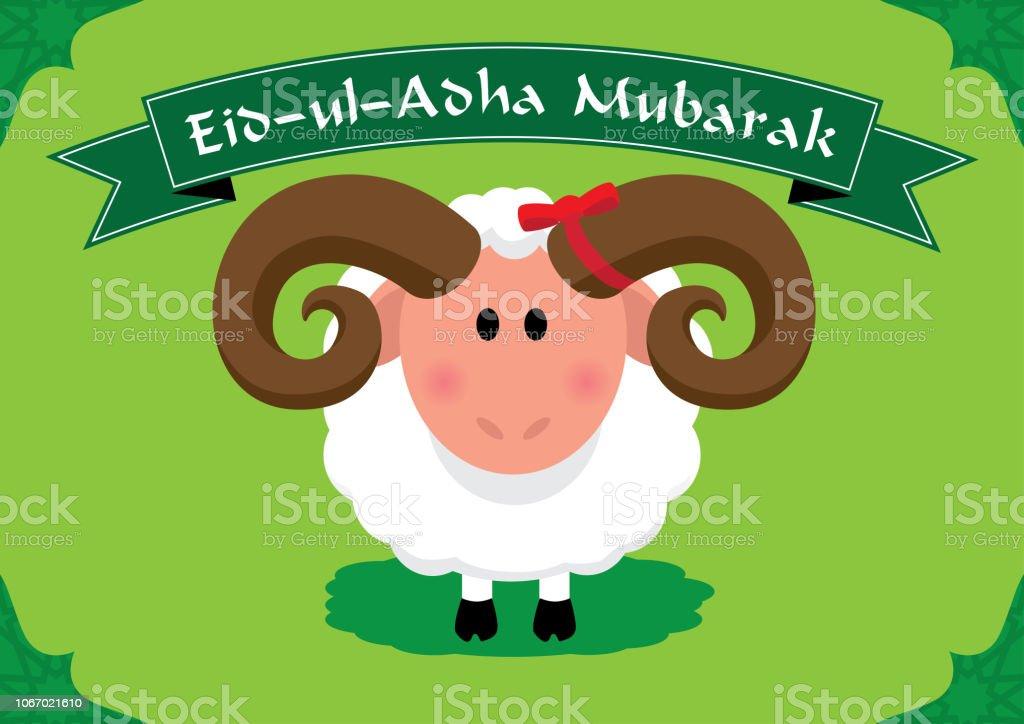 Niedlichen Schafe für muslimischen fest des Opfers Eid-Ul-Adha (Bayram) Text: Mubarek Opfer Urlaub – Vektorgrafik