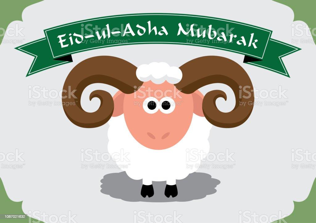 Niedlichen Schafe für muslimische Festival von Opfern Eid-Ul-Adha (Bayram) – Vektorgrafik
