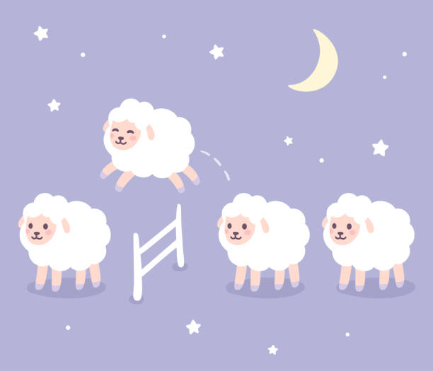 Cute sheep jumping over fence vector art illustration
