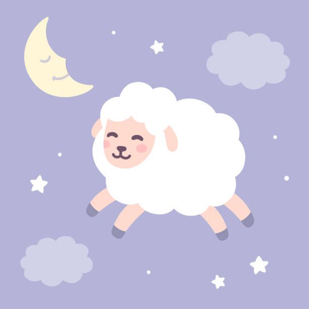 cute sheep on night sky background - bedtime story stock illustrations