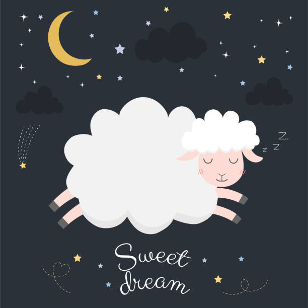 stockillustraties, clipart, cartoons en iconen met schattige schapen op nacht met maan. - schaap