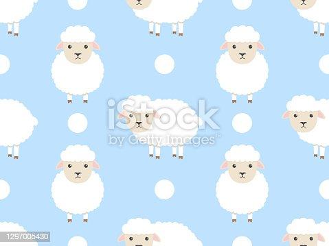 istock Cute sheep seamless pattern. 1297005430