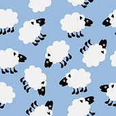 Vector illustration of cute white sheep on a light blue background.