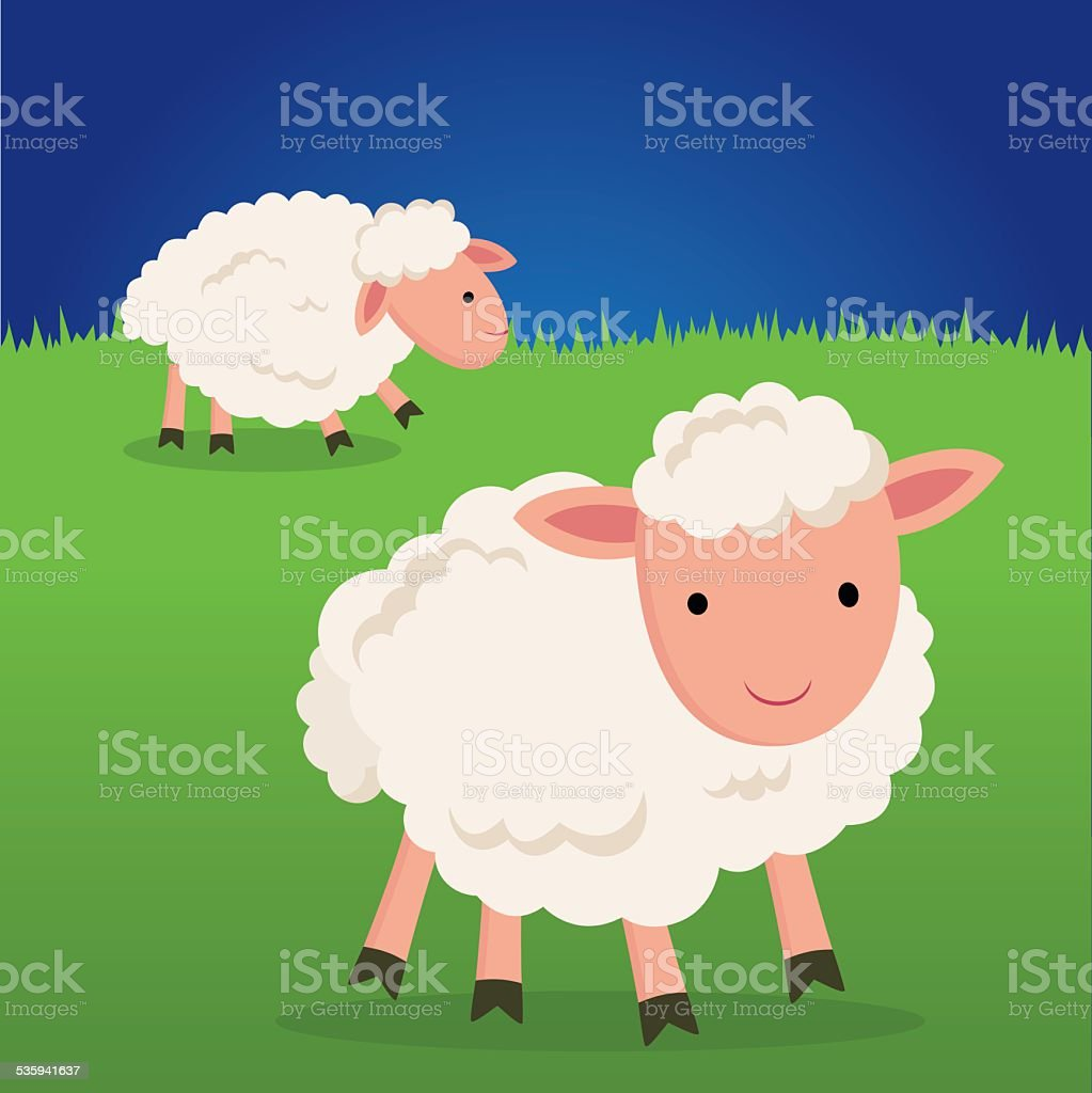 Cute sheep smiling. vector art illustration
