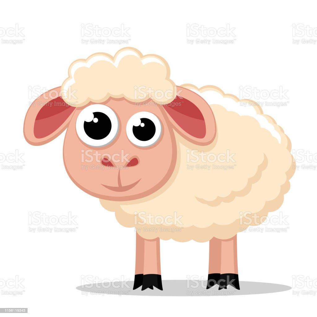 Le mouton mignon reste sur un blanc. animal le mouton mignon reste sur un blanc animal vecteurs libres de droits et plus d'images vectorielles de agneau - animal libre de droits