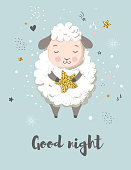 Cute sheep, greeting card for baby shower, nursery poster, kids and baby t-shirt and wear
