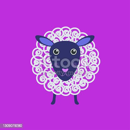 istock Cute sheep, vector illustration. Poster design for greeting cards, T-shirts, invitations, children's shower, birthday, decorating rooms, textiles 1309079280