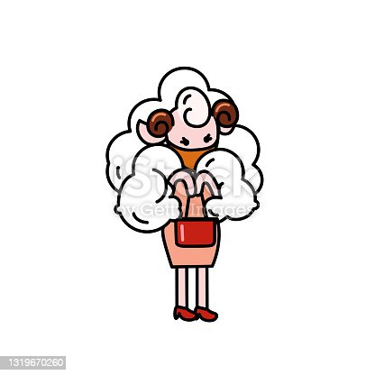 istock A cute sheep wearing sanitary mask prevent coronavirus, flu, dust cartoon character with black outline flat vector illustration isolated on white background. 1319670260