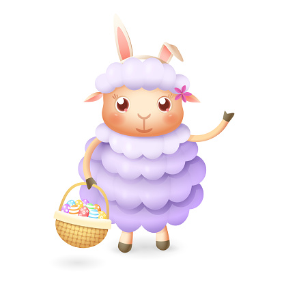 Cute sheep with easter eggs in basket celebrate Easter - isolated on white background
