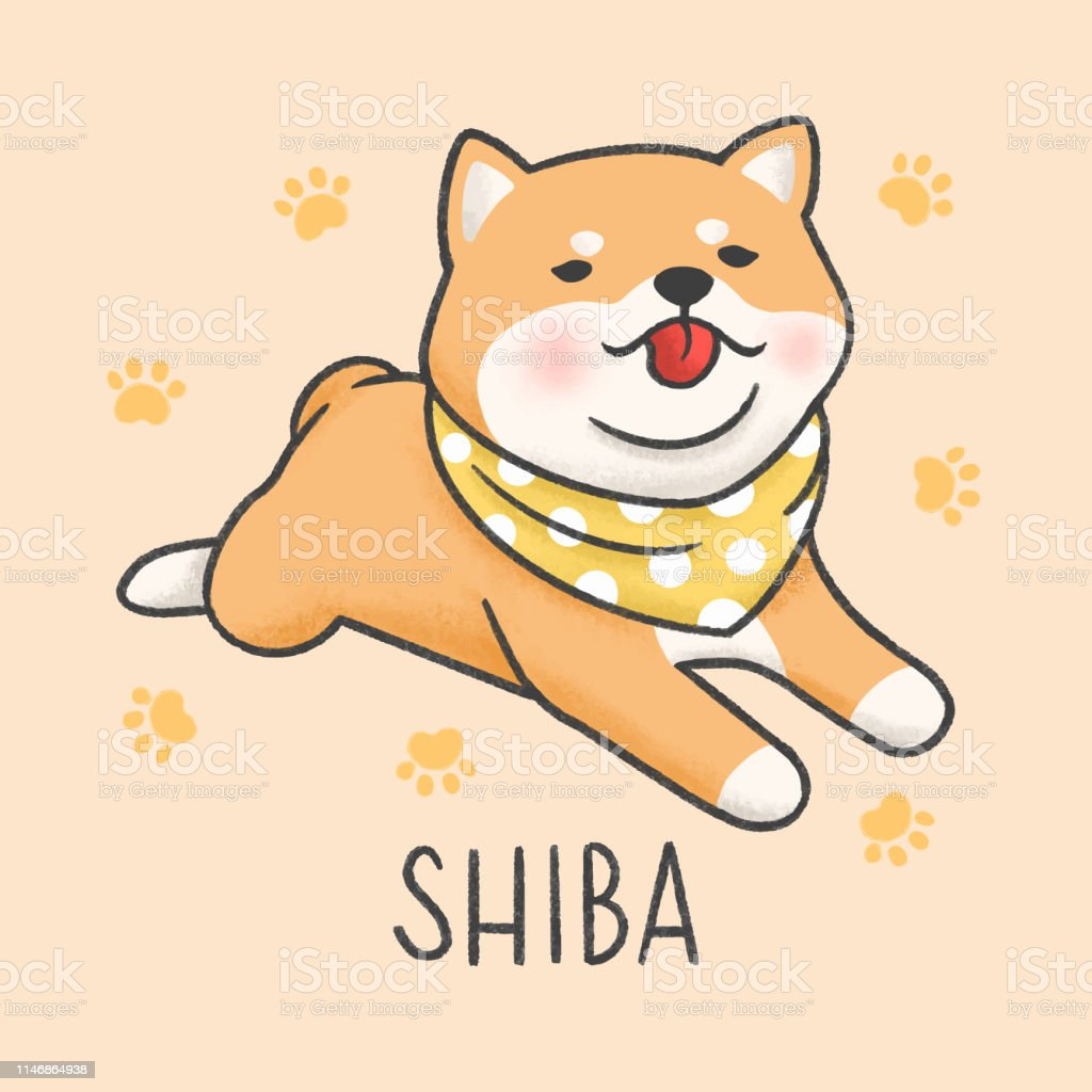Cute Shiba Inu Dog Cartoon Hand Drawn Style Stock Illustration Download Image Now Istock