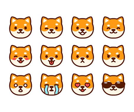 Cute Shiba Inu emoji set