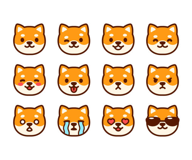 Cute Shiba Inu emoji set vector art illustration
