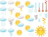 Lots of weather icons for all types of weather. File contains Illustrator CS ai, Illustrator 8.0 eps, and high-res jpeg files.