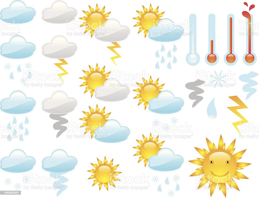 Cute Shiny Weather Icons vector art illustration