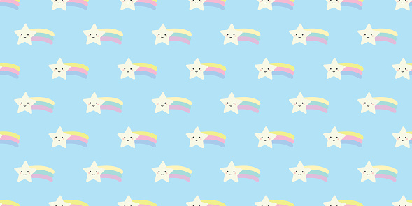 Cute shooting star repeat pattern background vector.