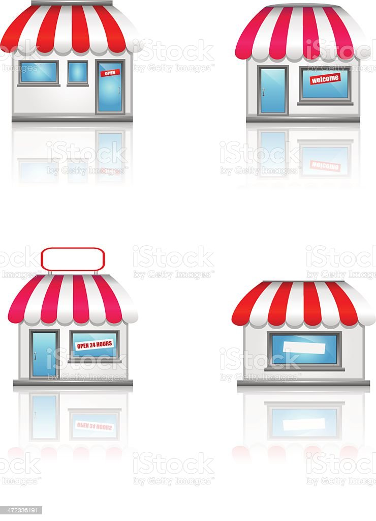 Cute shop icons with awnings. royalty-free cute shop icons with awnings stock vector art & more images of awning