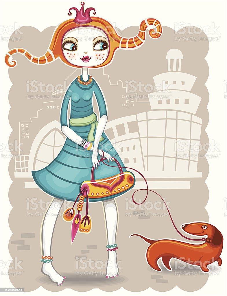 Cute shopping girl series vector art illustration