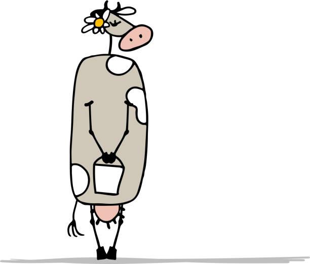cute shy cow, sketch for your design - lustige kuh bilder stock-grafiken, -clipart, -cartoons und -symbole