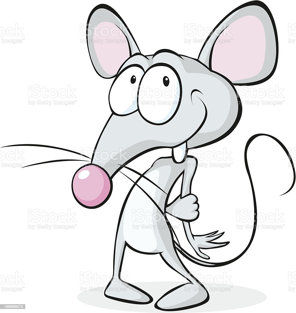 cute shy mouse isolated on white background vector art illustration