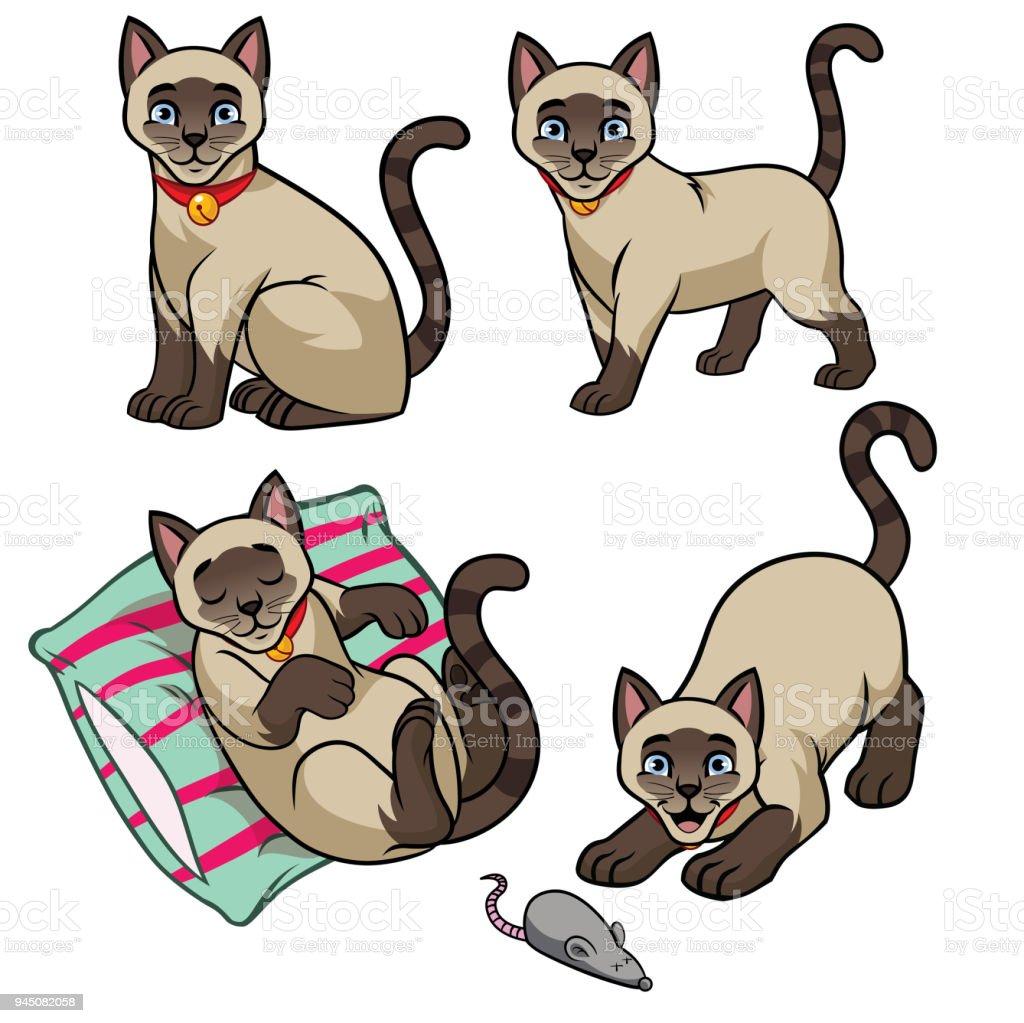 かわいいシャム猫セット おもちゃのベクターアート素材や画像を多数ご